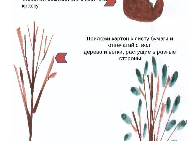 Дерево отпечатывание картоном + кисть Вырежи из картона небольшой прямоуголь...
