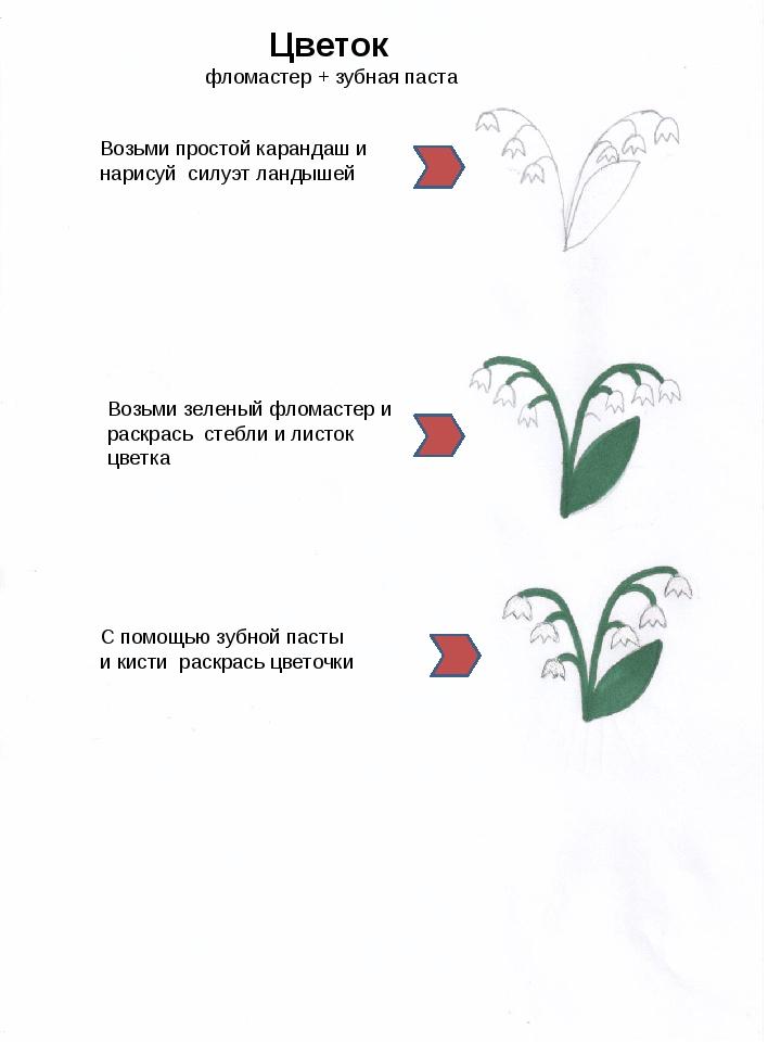 Цветок фломастер + зубная паста Возьми простой карандаш и нарисуй силуэт лан...
