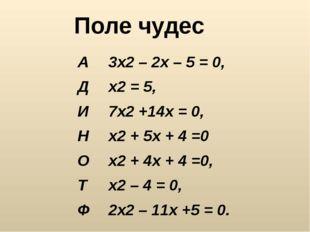 А3x2 – 2x – 5 = 0, Дx2 = 5, И7x2 +14x = 0, Нx2 + 5x + 4 =0 Оx2 + 4x