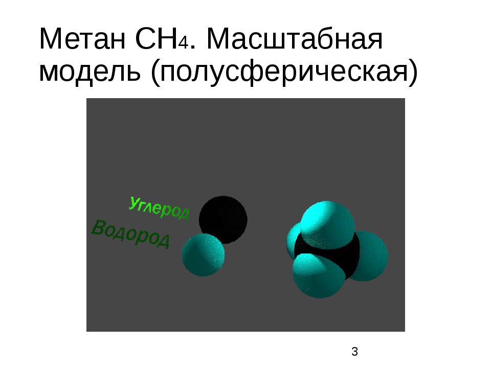 Метан CH4. Масштабная модель (полусферическая)