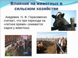 Влияние на животных в сельском хозяйстве Академик Н.Ф.Герасименко считает,