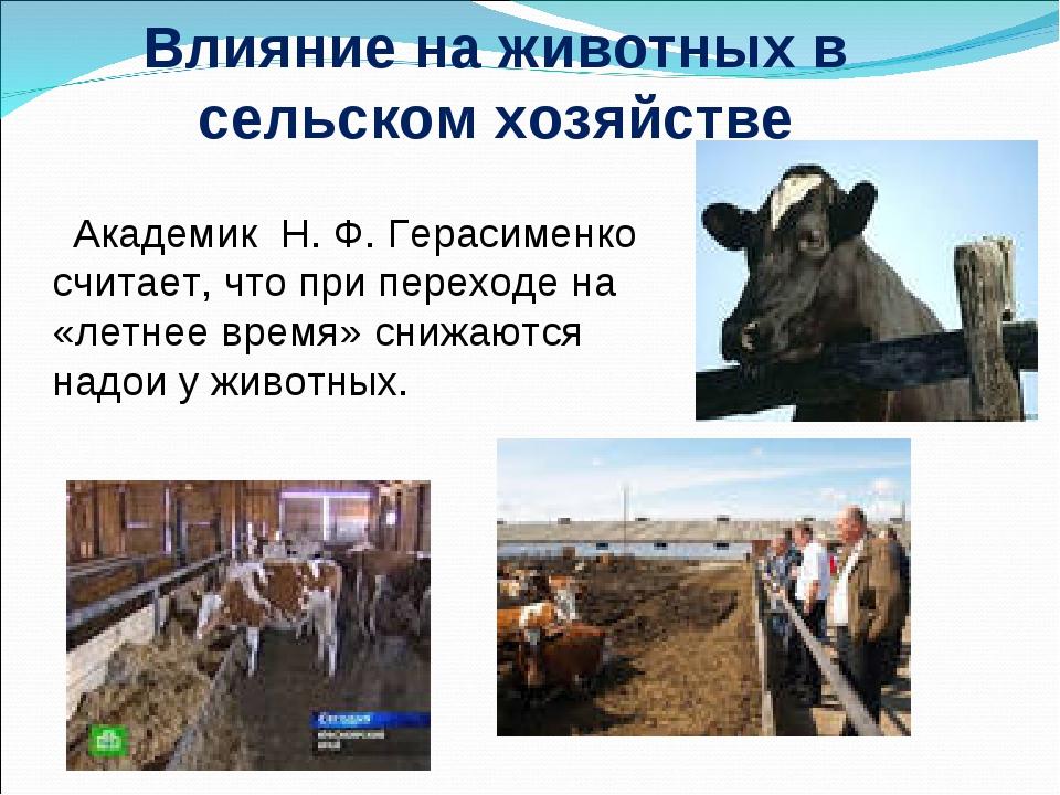 Влияние на животных в сельском хозяйстве Академик Н.Ф.Герасименко считает,...