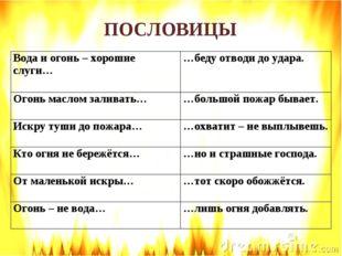 ПОСЛОВИЦЫ Вода и огонь – хорошие слуги… …беду отводи до удара. Огонь маслом
