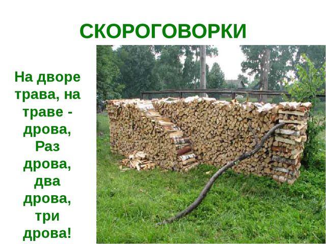 СКОРОГОВОРКИ На дворе трава, на траве - дрова, Раз дрова, два дрова, три дрова!