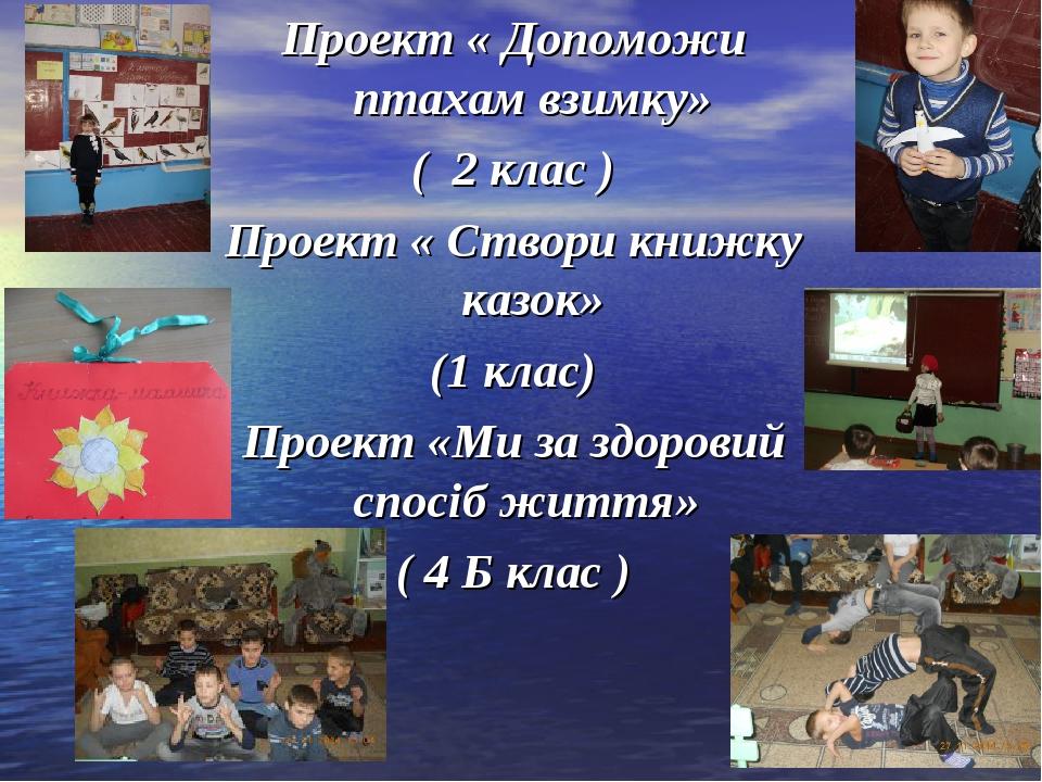 Проект « Допоможи птахам взимку» ( 2 клас ) Проект « Створи книжку казок» (1...