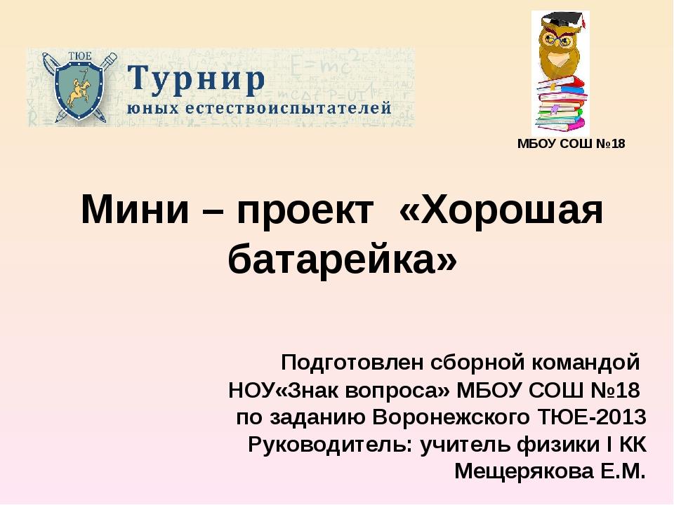 Мини – проект «Хорошая батарейка» Подготовлен сборной командой НОУ«Знак вопро...