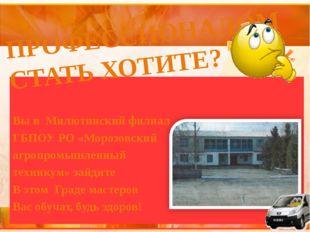 Вы в  Милютинский филиал ГБПОУ РО «Морозовский агропромышленный  техникум»