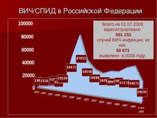 ВИЧ/СПИД в Российской Федерации Всего на 01.07.2009 зарегистрировано 501 151