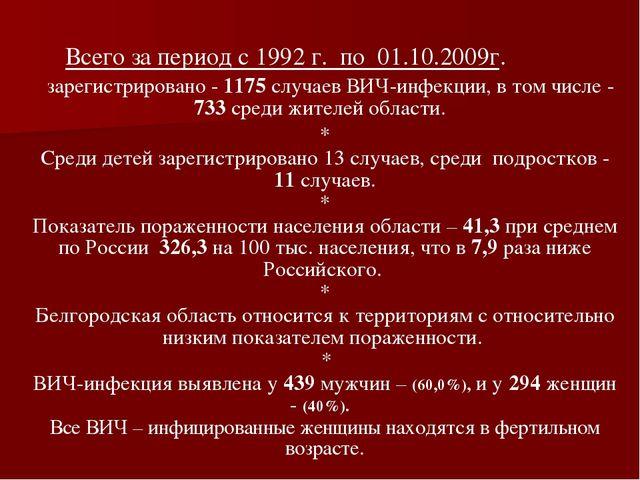 Всего за период с 1992 г. по 01.10.2009г. зарегистрировано - 1175 случаев ВИ...