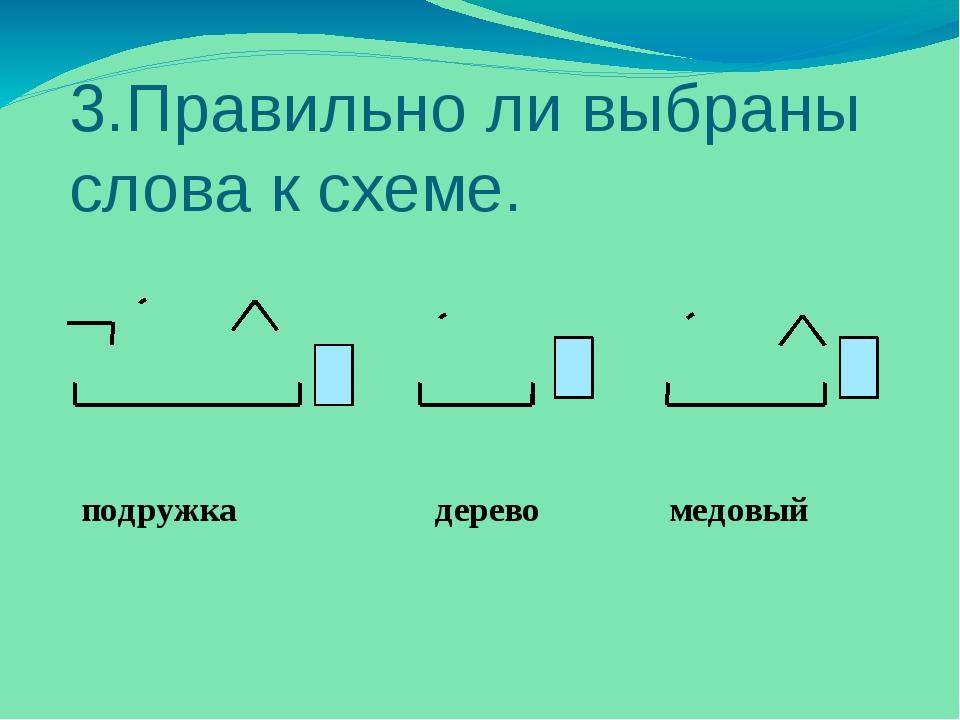 3.Правильно ли выбраны слова к схеме. подружка дерево медовый