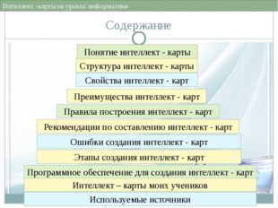 Свойства интеллект - карт Интеллект -карты на уроках информатики