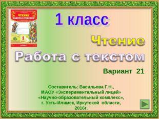Вариант 21 Составитель: Васильева Г.Н., МАОУ «Экспериментальный лицей» «Научн