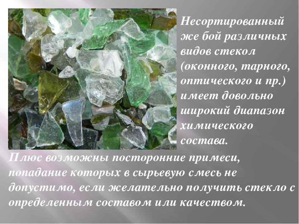 Несортированный же бой различных видов стекол (оконного, тарного, оптического...