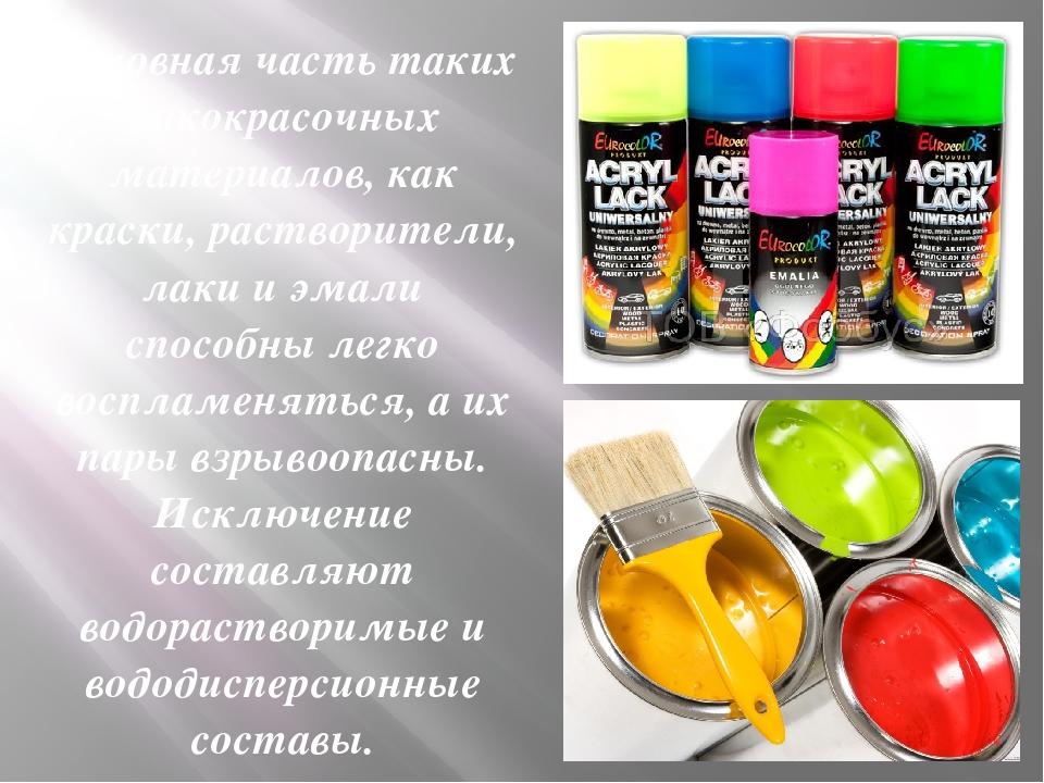 Основная часть таких лакокрасочных материалов, как краски, растворители, лаки...