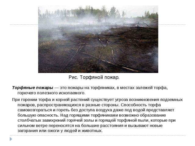 Торфяные пожары — это пожары на торфяниках, в местах залежей торфа, горючего...