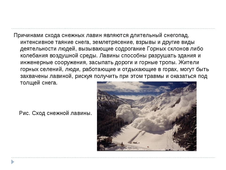 Причинами схода снежных лавин являются длительный снегопад, интенсивное таяни...