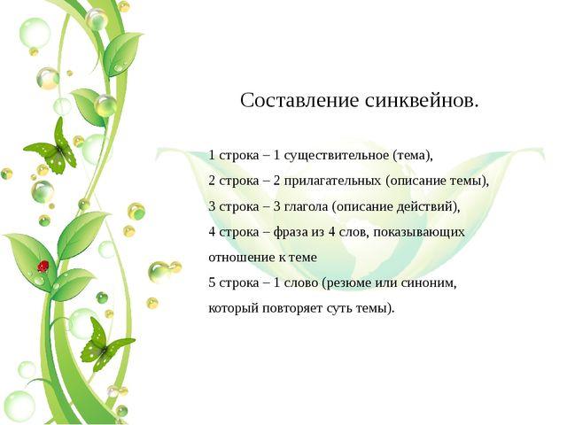 Составление синквейнов. 1 строка – 1 существительное (тема), 2 строка – 2 п...