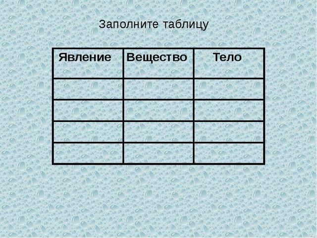 Заполните таблицу Явление Вещество Тело