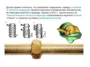 Долгое время считалось, что резьбовое соединение, наряду сколесомизубчатой