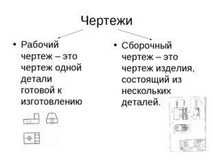 Чертежи Рабочий чертеж – это чертеж одной детали готовой к изготовлению Сборо