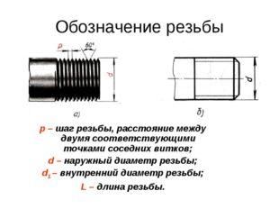 Обозначение резьбы p – шаг резьбы, расстояние между двумя соответствующими то