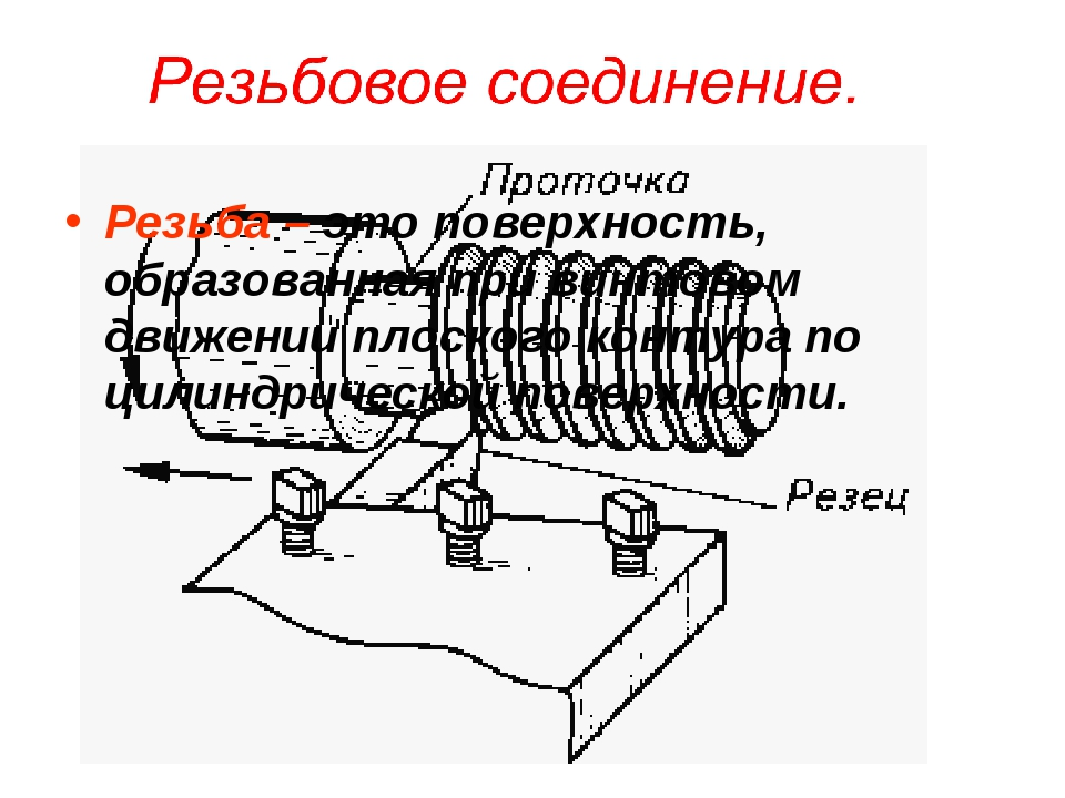 Резьбовое соединение. Резьба – это поверхность, образованная при винтовом дви...