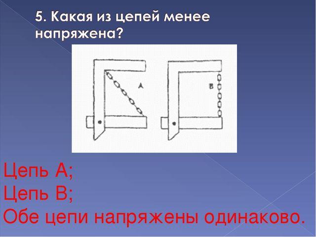 Цепь А; Цепь В; Обе цепи напряжены одинаково.