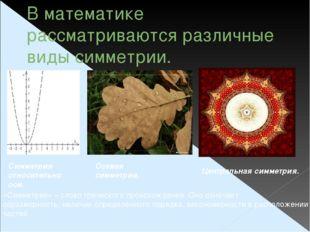 В математике рассматриваются различные виды симметрии. Симметрия относительно