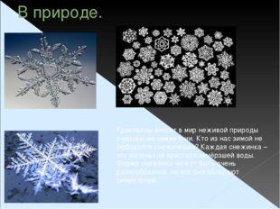 В природе. Кристаллы вносят в мир неживой природы очарование симметрии. Кто и