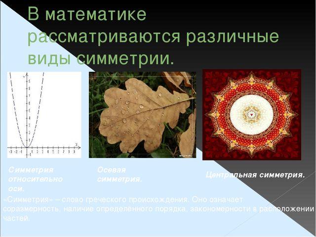 В математике рассматриваются различные виды симметрии. Симметрия относительно...