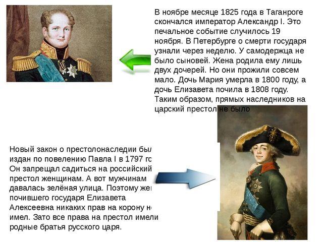 В ноябре месяце 1825 года в Таганроге скончался император Александр I. Это пе...