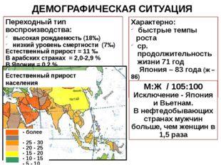 Переходный тип воспроизводства: высокая рождаемость (18‰) низкий уровень смер