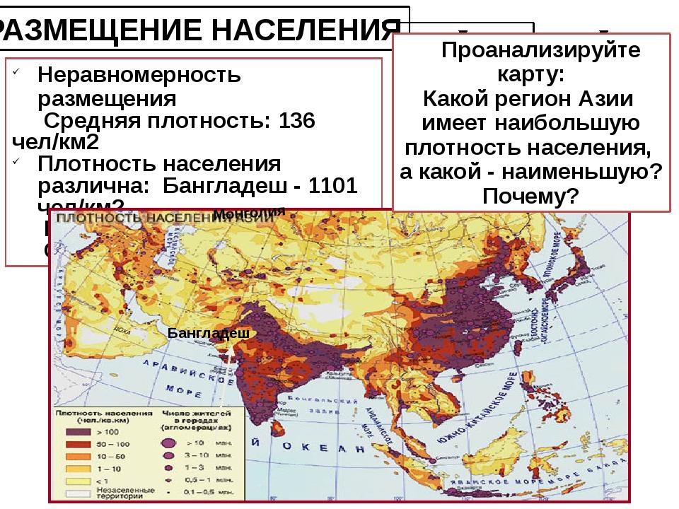 РАЗМЕЩЕНИЕ НАСЕЛЕНИЯ Неравномерность размещения Средняя плотность: 136 чел/км...