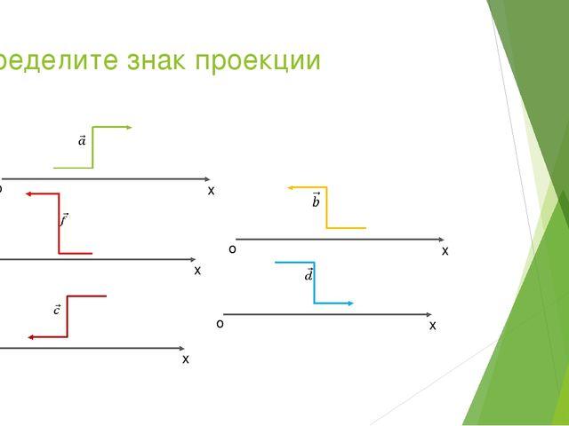Определите знак проекции о х о х о х о х о х