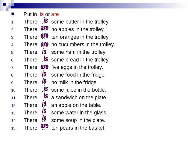 Put in is or are There … some butter in the trolley. There … no apples in the...