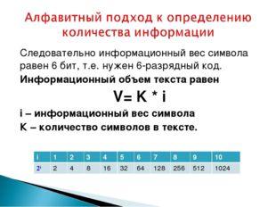 Следовательно информационный вес символа равен 6 бит, т.е. нужен 6-разрядный