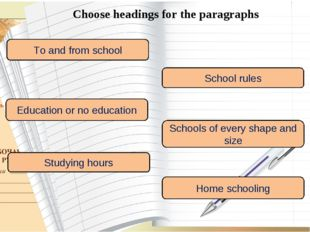 Choose headings for the paragraphs To and from school School rules Education