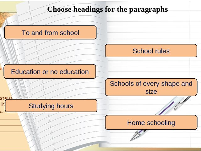 Choose headings for the paragraphs To and from school School rules Education...