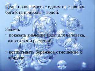 Цель: познакомить с одним из главных богатств природы – водой. Задачи: показа
