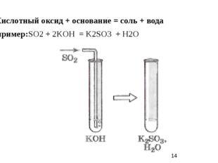1) Кислотный оксид + основание = соль + вода Например:SO2 + 2KOH = K2SO3 + H2O