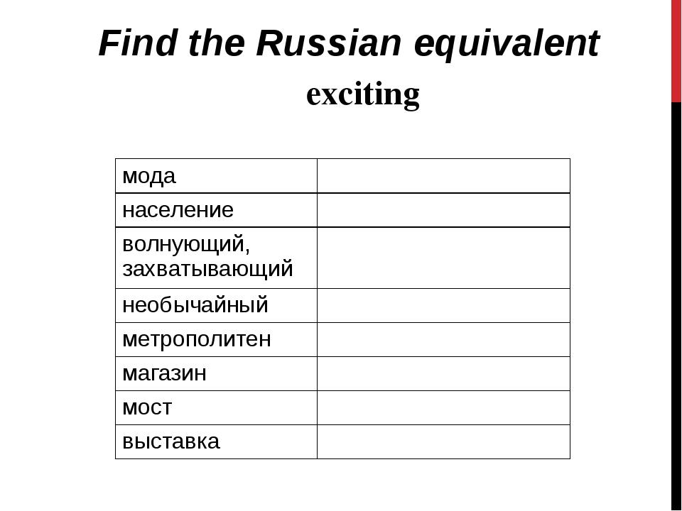 Find the Russian equivalent exciting мода население волнующий, захватывающий...
