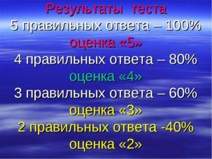 Результаты теста 5 правильных ответа – 100% оценка «5» 4 правильных ответа –