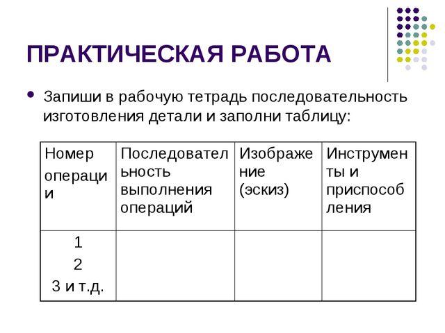 ПРАКТИЧЕСКАЯ РАБОТА Запиши в рабочую тетрадь последовательность изготовления...