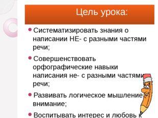 Цель урока: Систематизировать знания о написании НЕ- с разными частями речи;