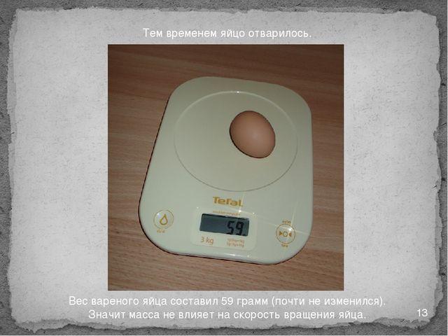 Тем временем яйцо отварилось. Вес вареного яйца составил 59 грамм (почти не и...