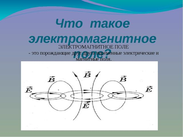 Что такое электромагнитное поле? ЭЛЕКТРОМАГНИТНОЕ ПОЛЕ - это порождающие друг...