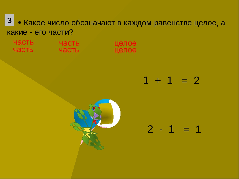 1 + 1 2 - 1 = 1 = 2  Какое число обозначают в каждом равенстве целое, а как...