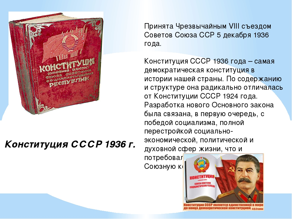 Конституция СССР 1936 г. Принята Чрезвычайным VIII съездом Советов Союза ССР...