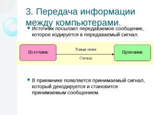 3. Передача информации между компьютерами. Источник посылает передаваемое соо