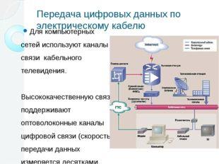 Передача цифровых данных по электрическому кабелю Для компьютерных сетей испо